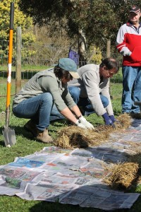 Derwent Valley students laying out the grass sides for a no dig garden - GlobalNet Academy and the RTBG